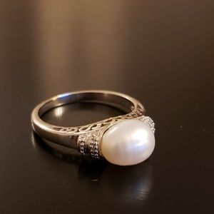 💕Sterling Oval Pearl Ring